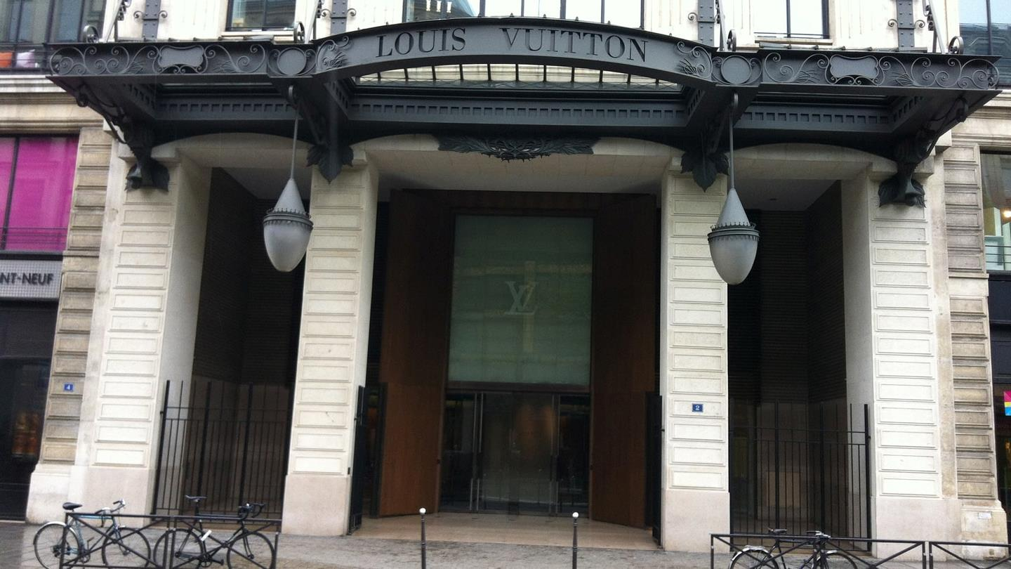 Entrance to Louis Vuitton headquarters in Paris