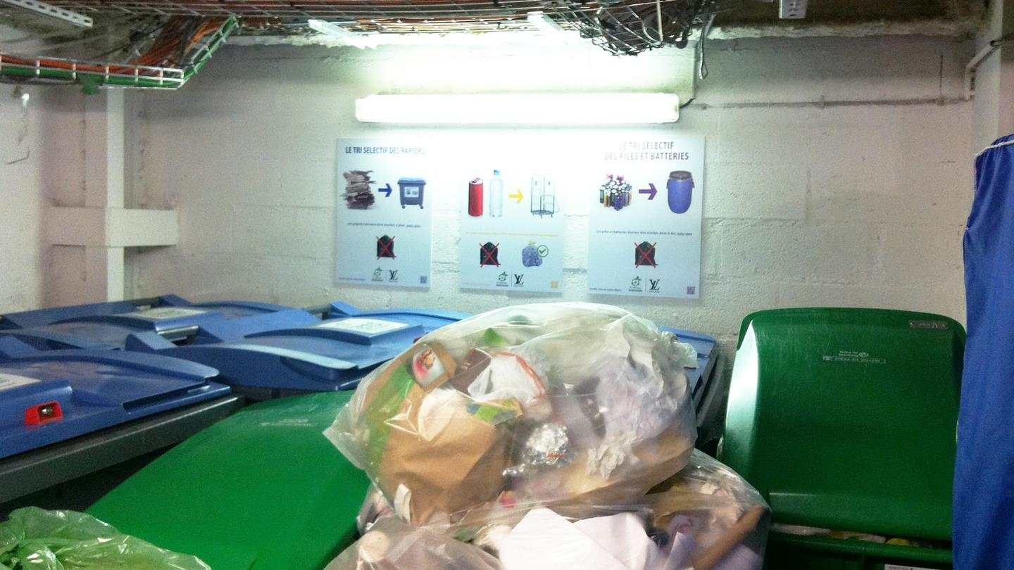 Waste stored in bags and containers in basement at Louis Vuitton